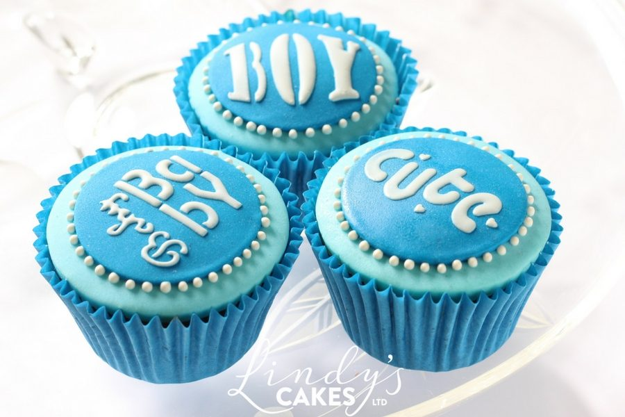 cute baby boy stencilled cupcakes
