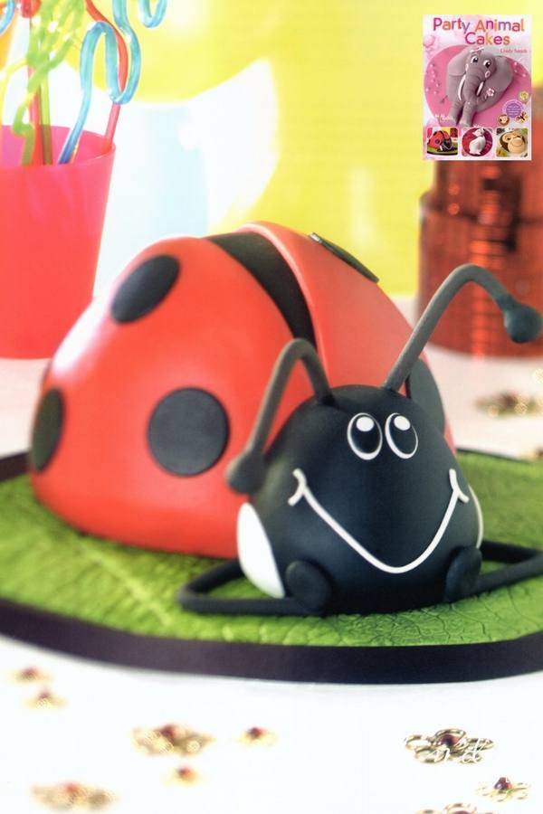 Lady bird cake from Party animal cakes book by Lindy Smith