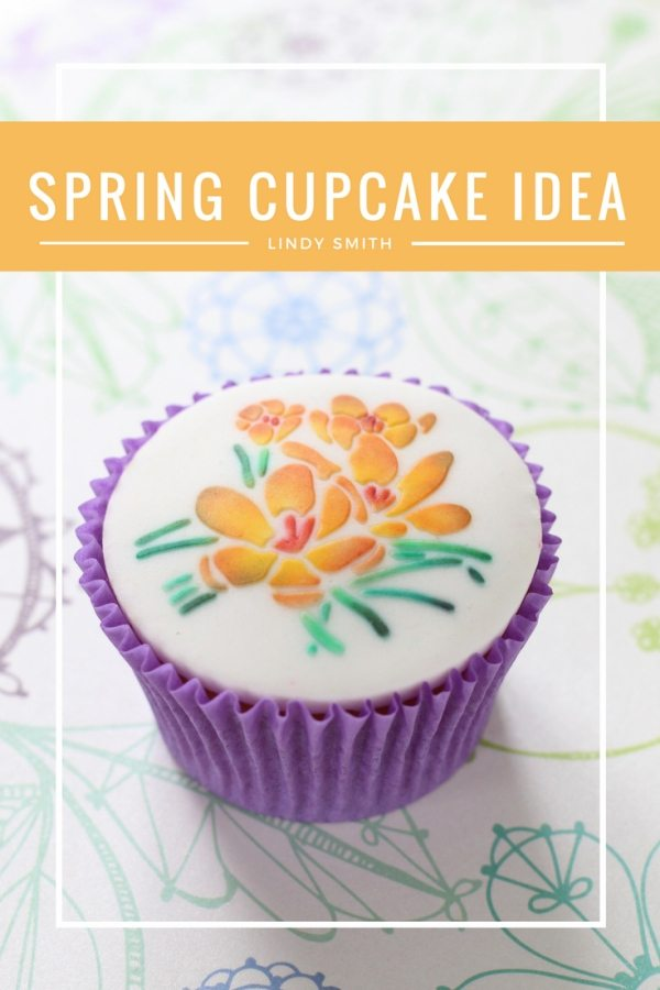 crocus stencilled cupcake by Lindy Smith
