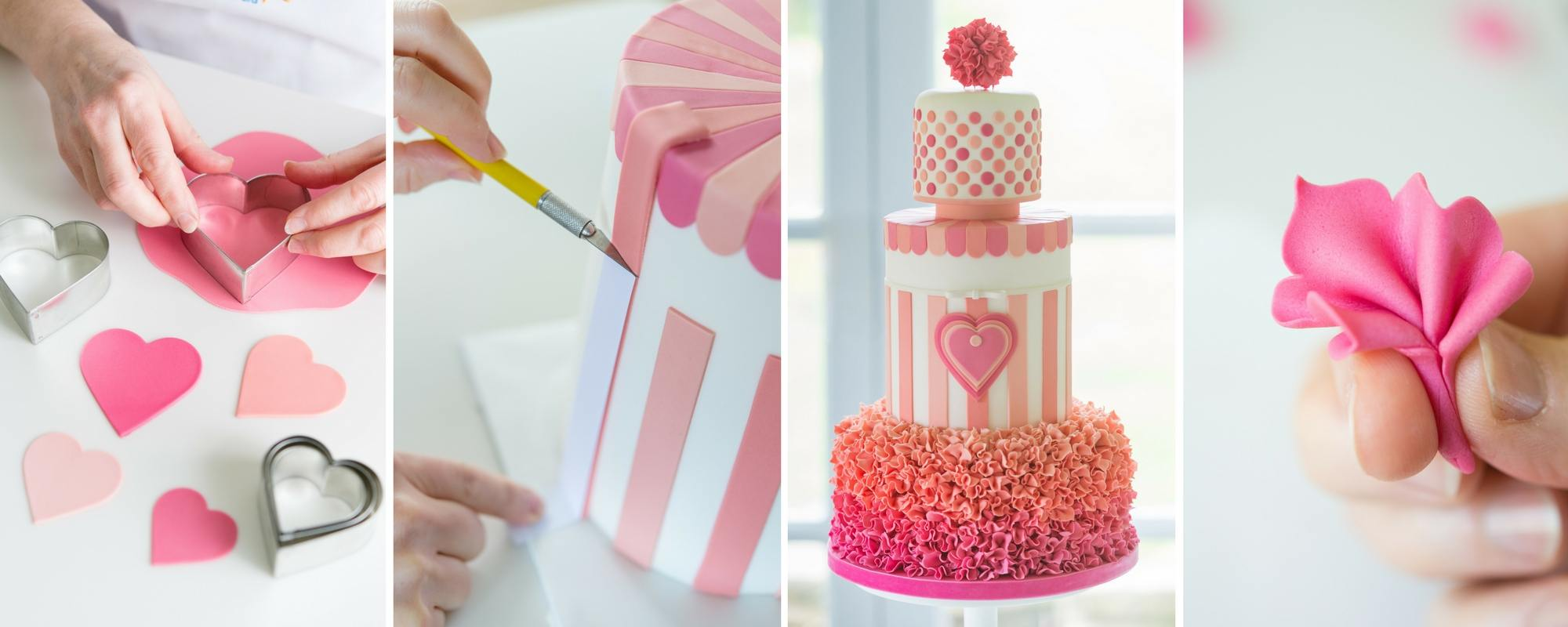 steps for making Lindy Smith's sweetheart stripes party cakes