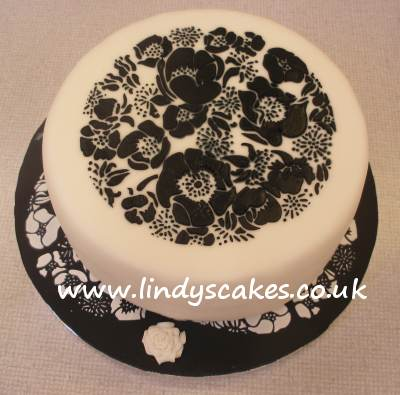 Donna's black and white species rose stencil cake