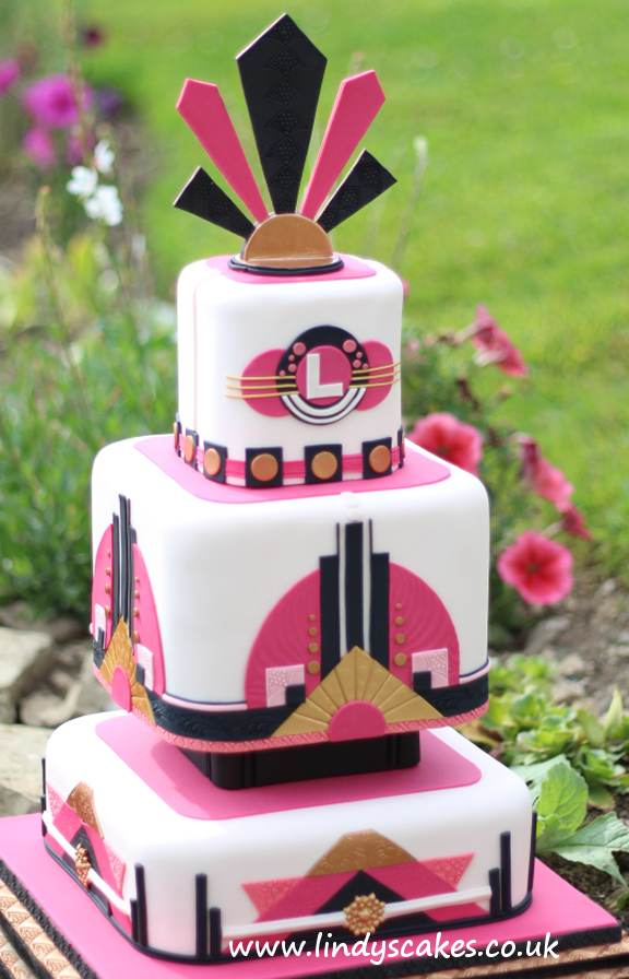 Art Deco inspired pink black and gold impressive tiered wedding cake by luxury wedding cake designer Lindy Smith