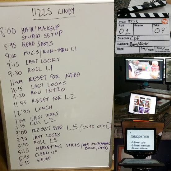 Experiences of filming days with Craftsy - Lindy's schedule