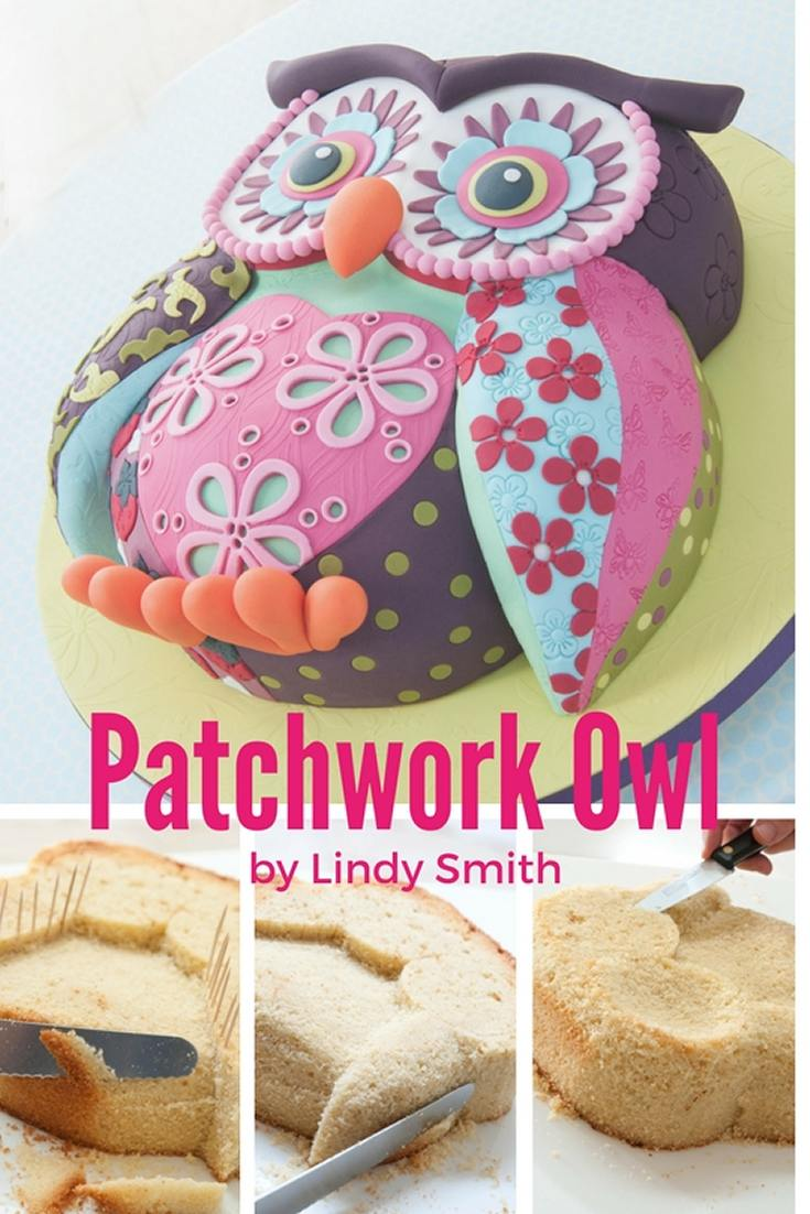 Lindy's carved patchwork owl cake from her 'Creative colour for cake decorating' book