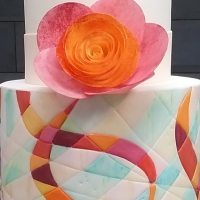 Painted ribbon cake by Lindy Smith - Contemporary cake designs online Craftsy class
